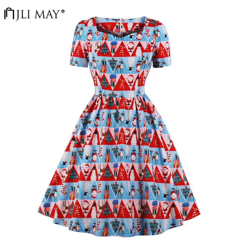 JLI MAY Christmas Printed Party Dress Women Autumn Fall Short Sleeve Midi  A-Line V 73562aae82ce
