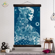 Blue Art Woman Wall Canvas Prints Painting Frame Scroll Hanging Poster Decorative Picture Print