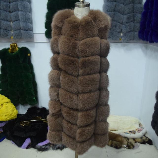 90cm Long Winter Fox Fur Vest  2017 Updated Real Fur Coat Pockets Woman Natural Fox Fur Coat Female Thick Genuine Fox Fur Jacket