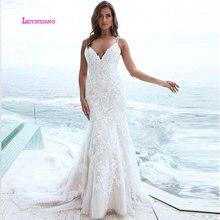 LEIYINXIANG יוקרה כלה שמלת 2019 שמלות כלה Vestido דה Noiva Sereia חלוק סקסי בת ים BacklessElegant אפליקציות V צוואר