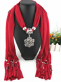 rose flower Fashion Jewelery Scarf With charms Pendant Fassels Scarf Women