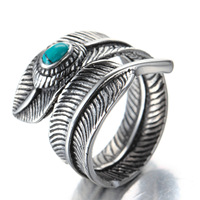 European Stainless Steel Ring Male Wholesale Turquoise Titanium Retro Takahashi Goro Feather Rgg0123 Floating Charms Trendy