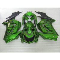 Injection mold Fairing kit for Kawasaki ninja EX250 08 09 10 11 12 13 14 250r 2008 2014 black flames in green new fairings BL28