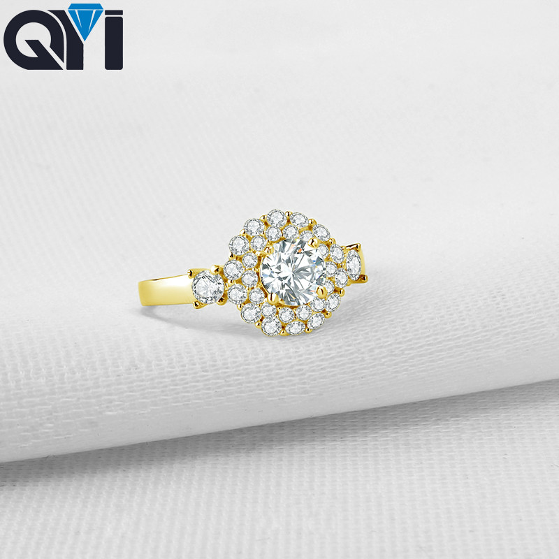 QYI Women Double Halo Engagement Ring Round Cut Sona Simulated Diamond Wedding Jewelry 14K Solid Yellow Gold Rings