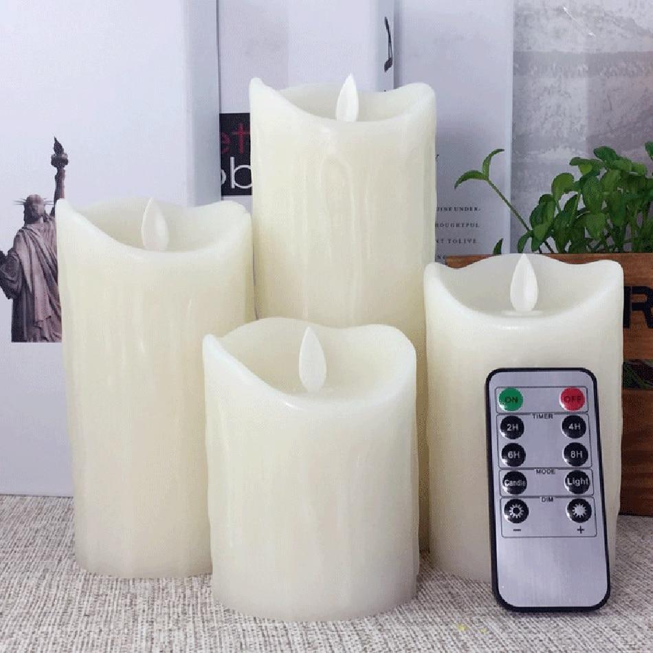 Արցունքաբեր կաթիլներ սյուն LED մոմ մոմ `10 առանցքային ժմչփ հեռակառավարմամբ
