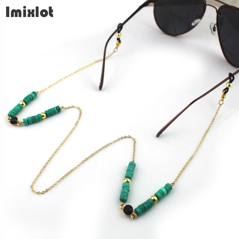 New Fashion Reading Glasses Chain Metal Sunglasses Cords Handmade Round Beaded Eyeglass Lanyard Hold Straps Eyewear Retainer