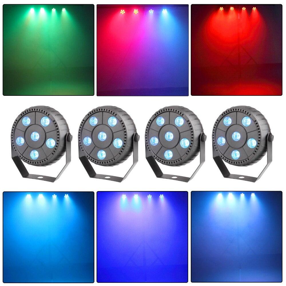 TSSS 4PCS Auto Strobe Uplighting RGB 6 Led Par Light Wall Washer Stage Lighting Party Wedding KTV Bar DJ Effect