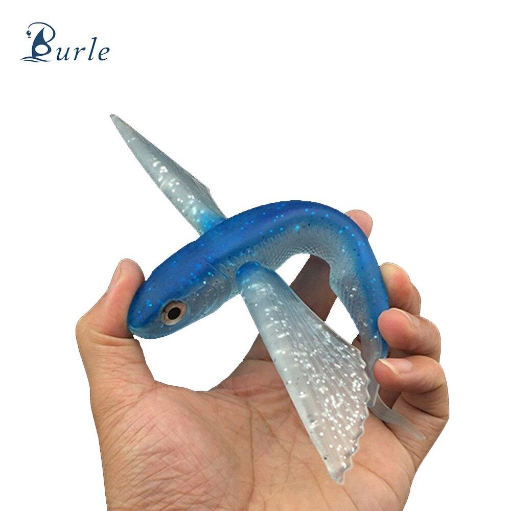 Burle Fishing 22cm/124g Offshore Flying Fish Tuna Lure Deep Sea Soft Fishing Lure Bait Boat Trolling Soft Bait