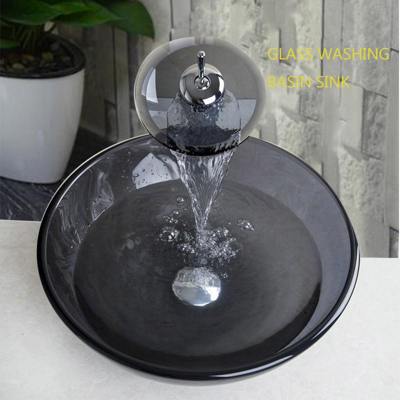 modern cascada lavabo de cristal templado encimera lavabo arte lavabo lavabo lavabo del bao grifo de