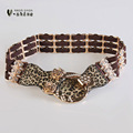 Brown European fashion belt sweet lady's hip with leopard print elastic waist skirt waist decoration P070