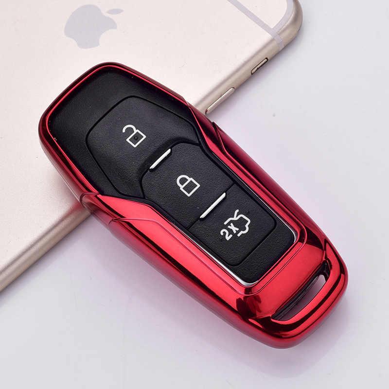 حافظة مفتاح السيارة الذكية عن بعد من البولي يوريثان الحراري غطاء حماية السيارة من الجلد لحافة فورد موستانج موستانج لمفاتيح مفاتيح فورد