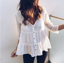 blouse women korean fashion clothing vintage lace top womens plus 2019 spring streetwear white shirts casual tops