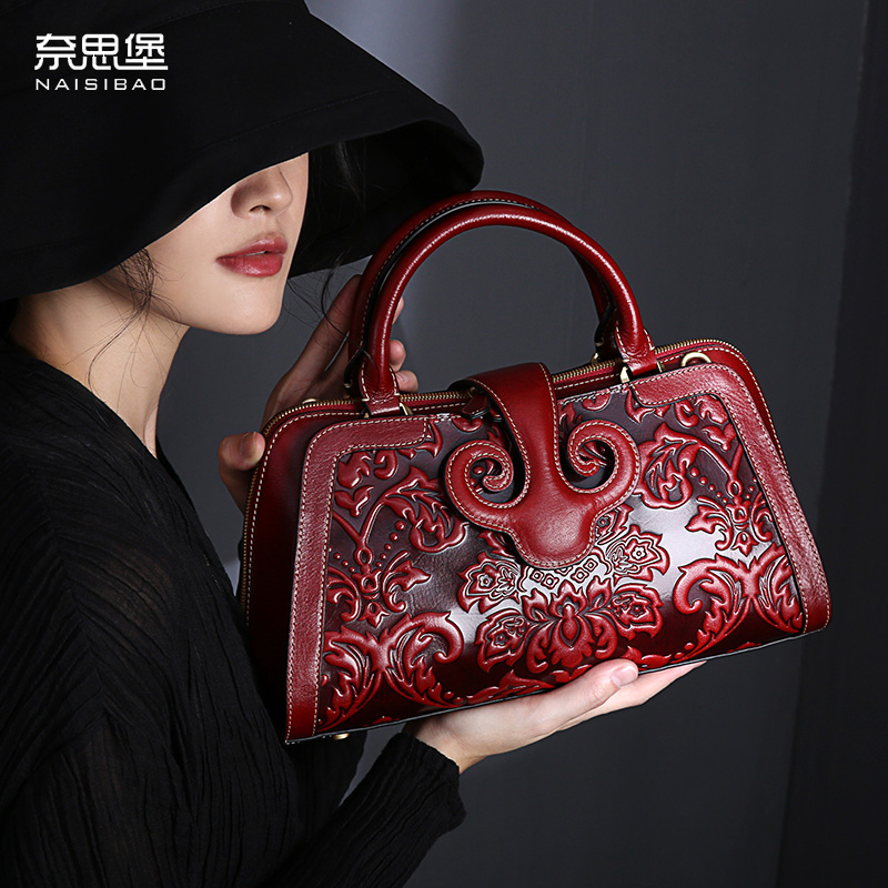 High Quality Chinese Style Genuine Leather Vintage Flower Pattern Purse Name Brand Handbag