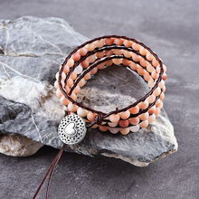 Asingeloo Pink Stone Beads Handmade Unique Charm 3 Strand Wrap Bracelets Boho Jewelry Bracelet For Women Holiday Gift
