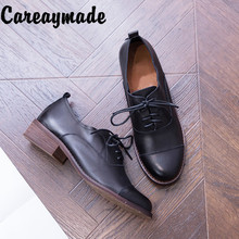 Careaymade-New Fashion  custom-made Vintage cowhide thick heel lace Baitie leisure women's shoes,literature and art pop shoes punk shoes big shoes shoes special custom opal thick lace muffin bright skin in custom 1304s shoes merchandiser