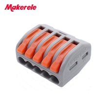 25 pcs WAGO 2PCT215 Universal Compact Wire Wiring Connector 5 pin Conductor Terminal Block With Lever 0.08-2.5mm2