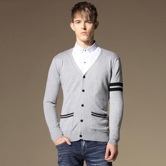 Winter Men V Neck Polo Sweater Long Sleeve Men Cotton Button