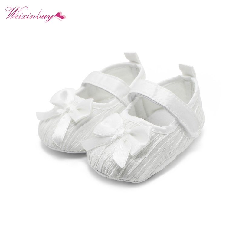 Pink White Bowknot Baby Girl Lace Shoes Toddler Prewalker Anti-Slip Infant Shallow Prewalker