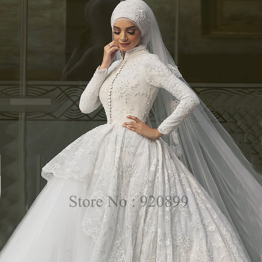 White Arabic Bridal Dresses With Scarf Ball Gown Lace Long Sleeve Muslim Wedding Dress 2016 Custom Made Vestido Branco In From Weddings