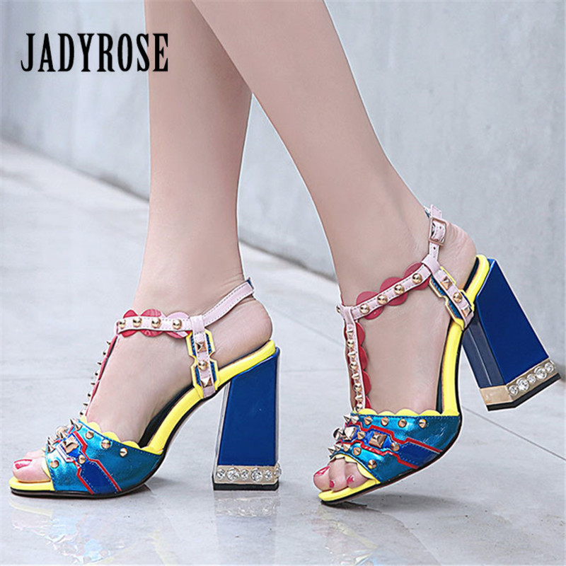 Jady Rose Colorful Women Sandals Summer Gladiator Sandal 11CM Chunky High Heels Retro Women Pumps Rivets Studded Zapatos MujerJady Rose Colorful Women Sandals Summer Gladiator Sandal 11CM Chunky High Heels Retro Women Pumps Rivets Studded Zapatos Mujer