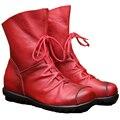 2016 Vintage Style Женщины Плоские Ботинки женщин Теленка Обувь Zip Гибкость Zapatos Женщины Кожа Ботильоны Плюс размер 35-42 pbd02