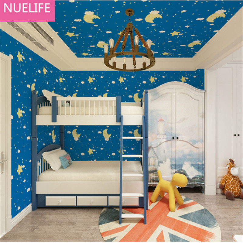 053x95m mediterranean star and moon waterproof wallpaper girl boys kids room bedroom living - Kids Bedroom Background