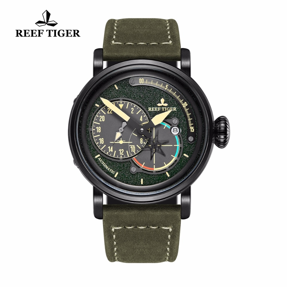 Reef Tiger/RT Black Steel Military Watches for Men Automatic Pilot Watch Genuine Leather Strap RGA3019