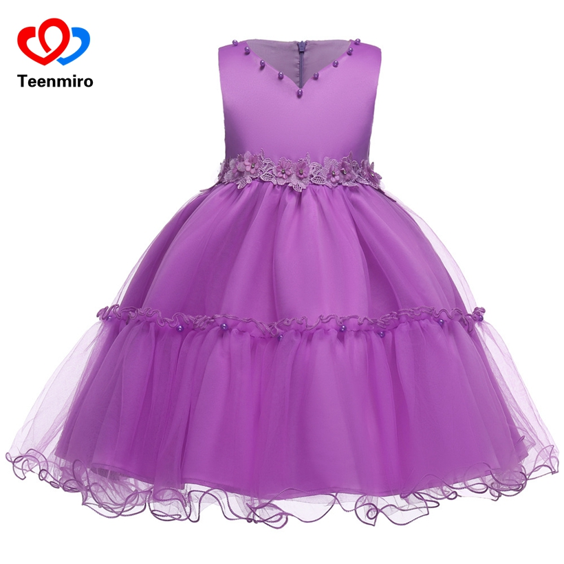2018 Purple V-neck Bow Pearls Flower Lace Baby Girls Dresses for Wedding Beading Sash First Communion Dress Girl Prom Party Gown 2017 new beading lace v neck flower girl dress baby prom girls dress holy first communion dress kids birthday princess dresses