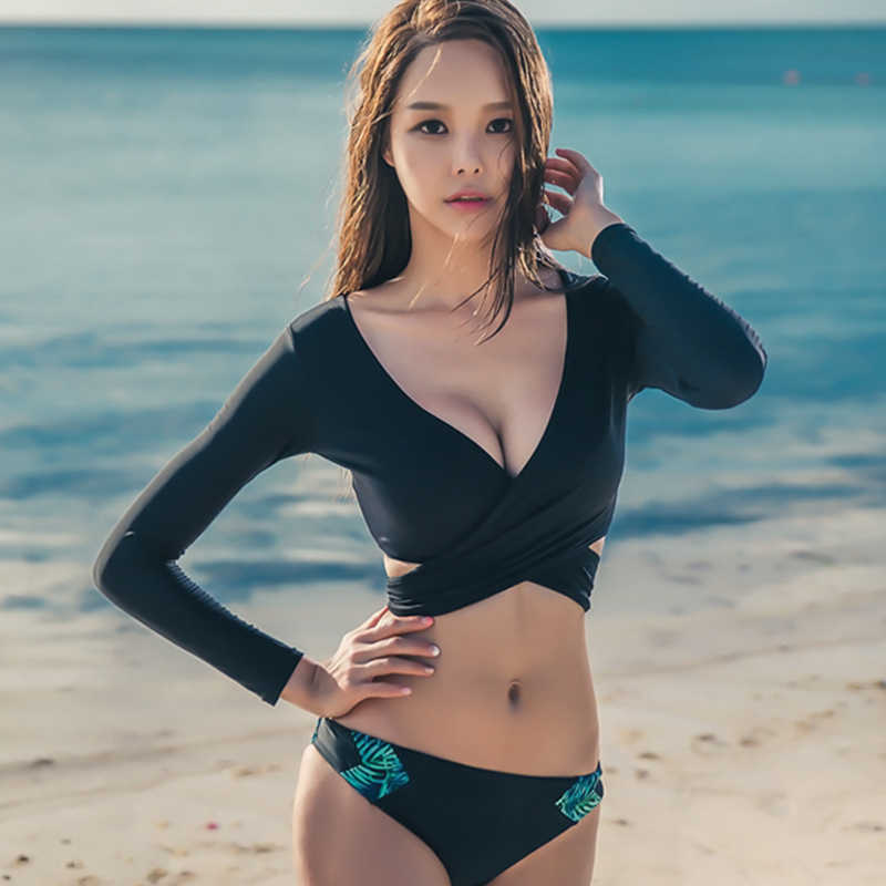 7be63bbd3ce 2019 Surfing Rashguard Long Sleeve Swimwear Women Protection Surf Rash  Guards Crop Top Two Pieces Surf