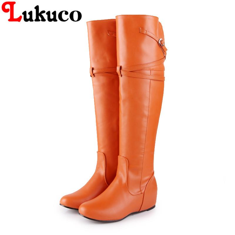 2018 elegant lady boots round toe oversize 38 39 40 41 42 43 44 45 46 47 knee high boots high quality free shipping LADY SHOES 2019 lukuco winter warm plush women boots oversize 38 39 40 41 42 43 44 45 46 high quality botas custom handmade pu lady shoes
