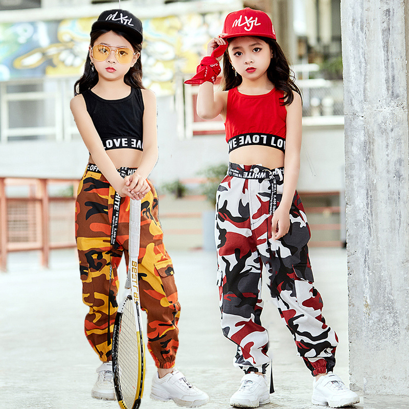 Fashion Children Jazz Dance Costume For Girls Hip Hop Street Dancing Costumes Vest Pants Kids Performance Dance Clothes DL2033 girl