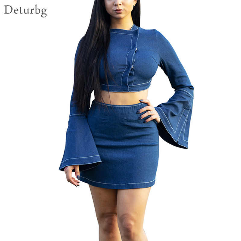 5068e7dbd1138 Women s Vintage Denim Two Piece Set Elegant Tops And Skirts Flare Sleeve Jeans  Crop Top High