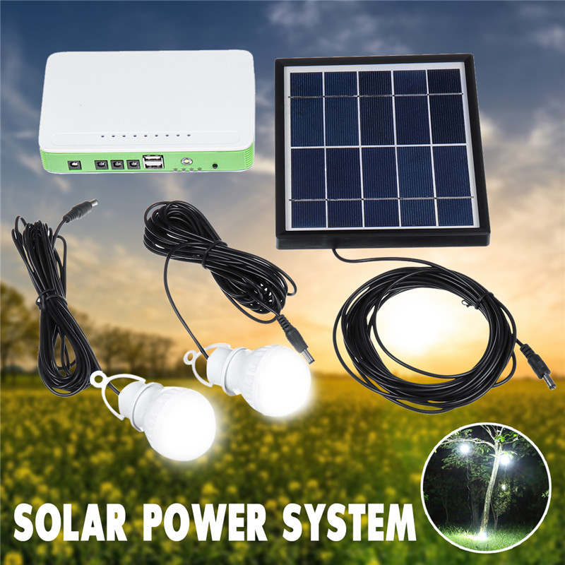 Mising Solar Lighting System Portable Emergency Home Light Kit With Solar Panel 2 LED Bulbs 3 Ports For Indoor Outdoor Camping