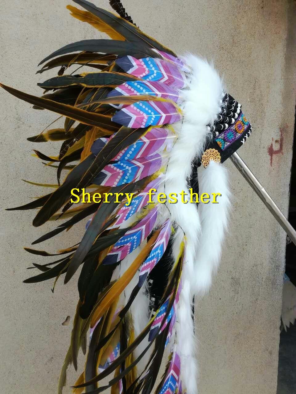 28inch 오렌지 깃털 머리 장식 머리띠 할로윈 깃털 모자 의상 파티 의상-에서깃털부터 홈 & 가든 의  그룹 1