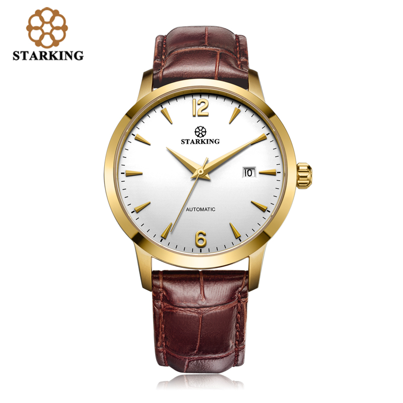 STARKING Men Mechanical Tourbillon Watch Gold Case Brown Genuine Leather Strap Sapphire Automatic Self-wind WristWatch AM0194 2017 issue automatic watch men parnis 44mm power reserved steel black gold case brown leahter sapphire mechanical men s watches