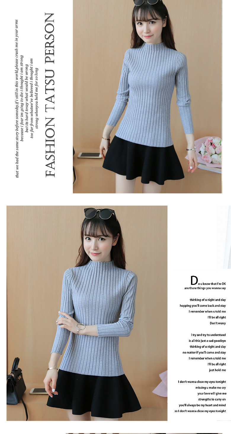 19 Autumn and winter New Korean Half turtleneck Sweater jacket Womens Long Sleeve Set head All-match knitted Sweater woman 15