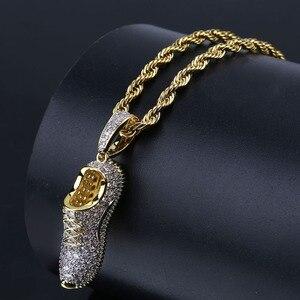 Image 3 - Ожерелье с подвеской TOPGRILLZ в стиле хип хоп, для мужчин и женщин, ожерелье с обувью, медным покрытием, микро покрытием, с фианитами, золотого цвета