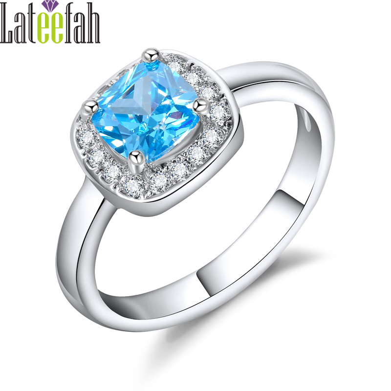 Lateefah December Birthstone Rings for Women Created Aquamarine Crystal Jewelry Birthstone Ring Silver Color Female Promise Ring