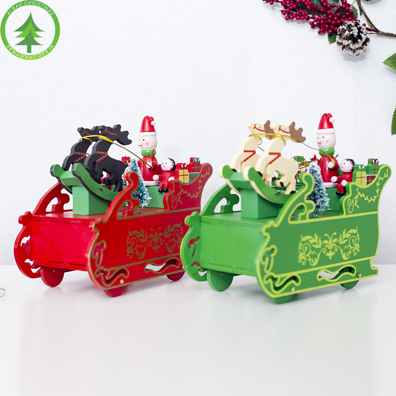 Diamond New Christmas Decoration Items Christmas Creative Sleigh Music Box Christmas Wooden Decorations