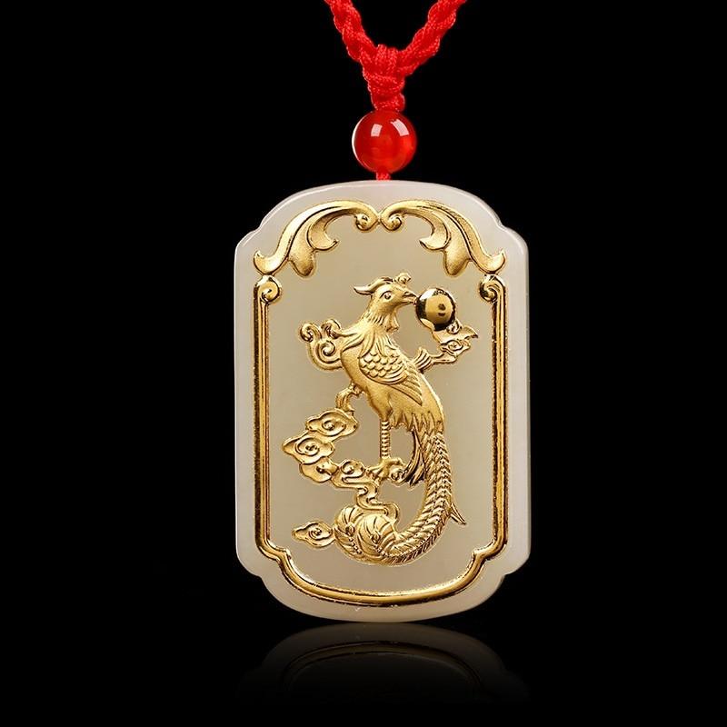 Jade Pendant For Men Women Unisex Hetian white Jade Necklace Pendants phoenix Chinese 2018 Good Luck buddha pendant necklace for men jade necklace for men gold jade good luck gold pendant buddha necklace