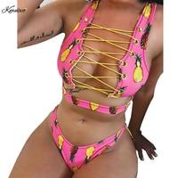 Kmnovo 2018 Bikini Chest Bandage Women Bikinis Set Sexy Swimwear Cute Floral Swimsuit Halter Bathing Suit