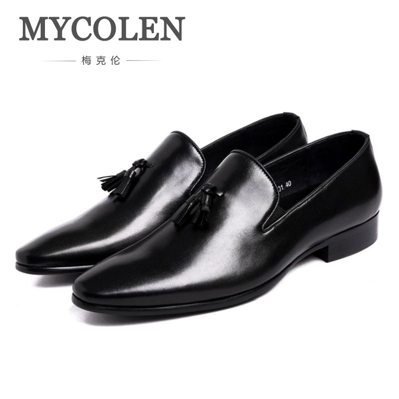 MYCOLEN Mens Slip On Tassel Formal Leather Dress Shoes Luxury Brand Pointed Toe Ballet Flats Male Elegant Business Shoes Men pjcmg spring autumn men s genuine leather pointed toe slip on flats dress oxfords business office wedding for men flats shoes