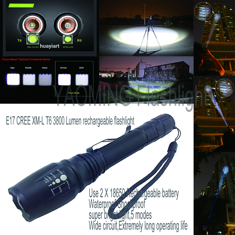 Tactical flashlight 3800LM CREE XML T6 LED flashlight lamp rechargeable torch linternas by 2 x 18650 battery police lantern 5mode led flashlight cree xml t6 tactical lamp with clip 18650 rechargeable battery eu us ac car charger bicycle torch holder