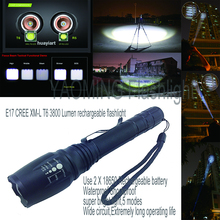 Tactical flashlight 3800LM CREE XML T6 LED flashlight lamp rechargeable torch linternas by 2 x 18650 battery police lantern