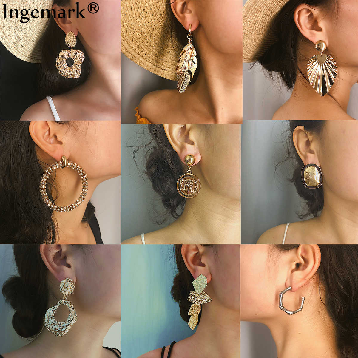 26 Style Vintage ZA Earrings Large Geometric Drop Dangle Earring For Women 2019 Wedding Party Punk earring Women Jewelry Brinco