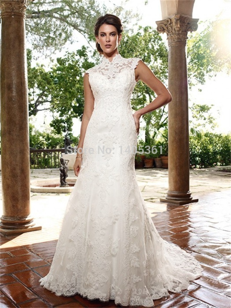 Hot Y Open Back Turtleneck Lace Cap Sleeve Wedding Dress See Through Bride Gowns Court Train Mermaid Vestido De Noiva 201 In Dresses From
