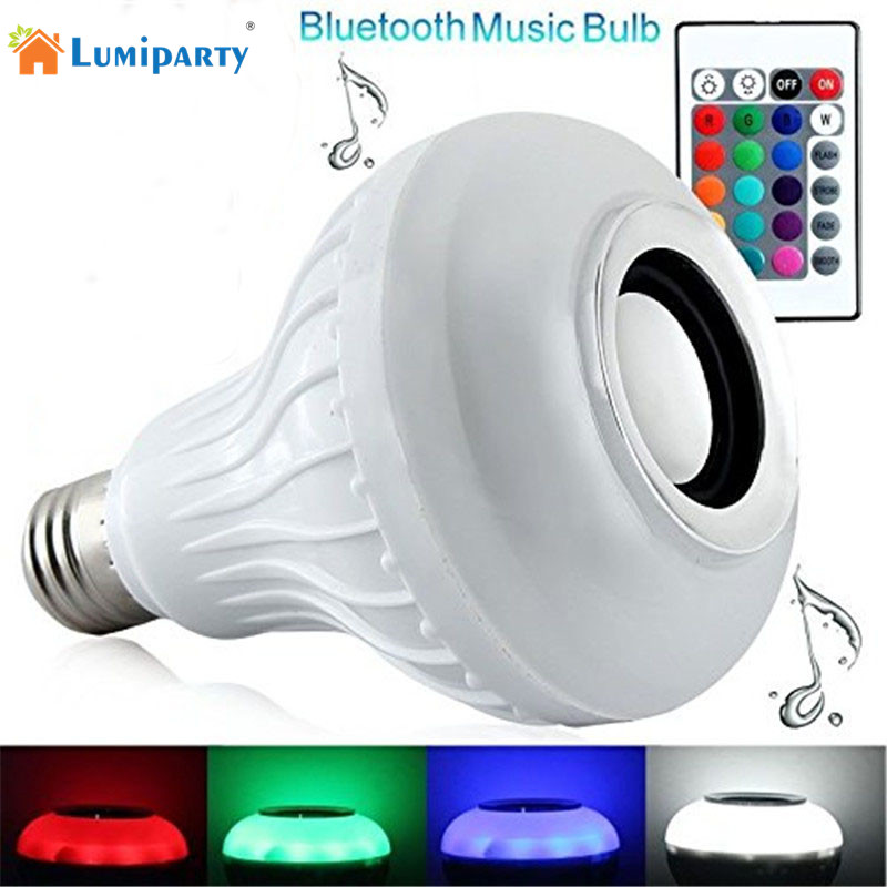 Lumiparty Intelligent E27 LED RGBW Light Bulb Colorful Lamp Smart Music Audio Bluetooth Speaker with Remote Control for Home szyoumy e27 rgbw led light bulb bluetooth speaker 4 0 smart lighting lamp for home decoration lampada led music playing