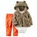 2016 New 3pcs Set  Baby Boys and Girls Long Sleeve bodysuit Pants, 100% Cotton Fleece Hooded jacket  Out Cloth Sets, Casual Wear