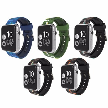 EIMO Camouflage sport silicone for Apple watch band 42mm 38mm Iwatch strap series 3 2 1 wrist bracelet watchband + metal button цвета apple watch 4