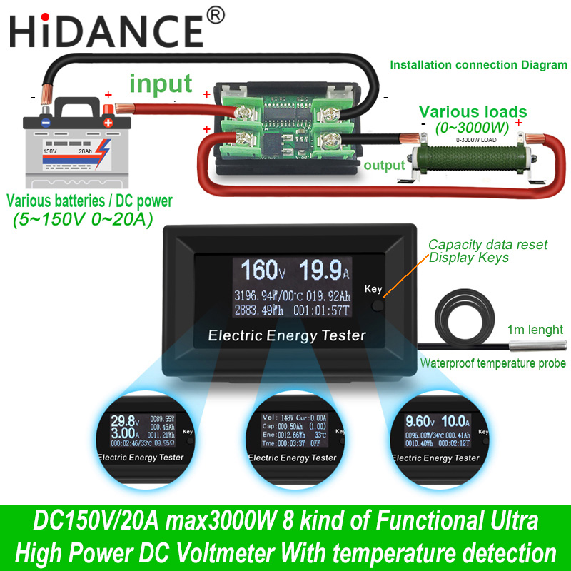 DC 150 V/20A 3KW digital voltímetro amperímetro voltaje de la fuente de alimentación metros detector de wattmeter de la capacidad actual de indicador